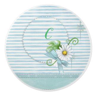 Daisy with blue stripes monogram ceramic knob