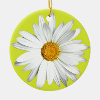 Daisy with Lime Green Background Round Ceramic Decoration