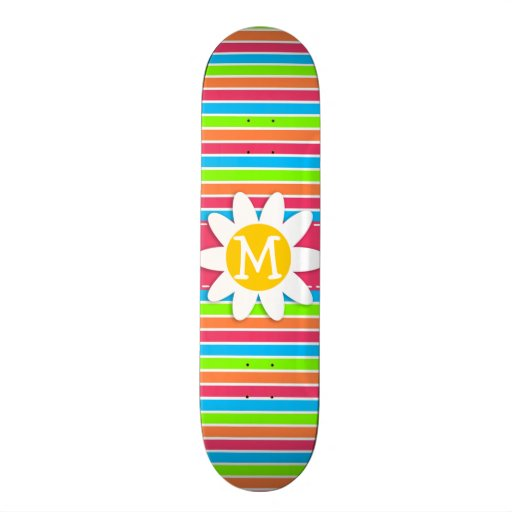 Daisy with Neon Stripes; Pink Blue Green Custom Skate Board
