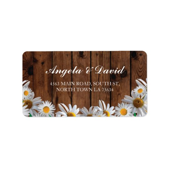 Daisy Wood Floral Rustic Elegant Address Labels