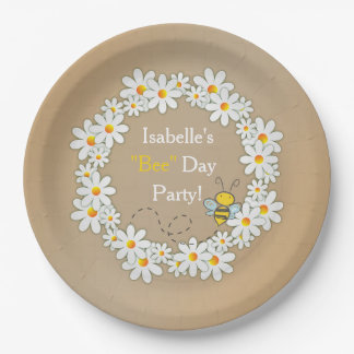 Daisy Wreath and Flying Bumble Bee Birthday Paper Plate