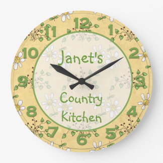 Daisy Yellow Green Country Clock Wall Clock