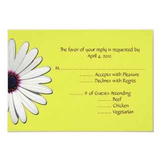 Daisy Yellow Reply Cards with Menu Options 9 Cm X 13 Cm Invitation Card