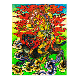 Dakini Riding a Black Dog Postcard