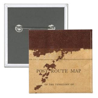 Dakota Territory post route map 15 Cm Square Badge
