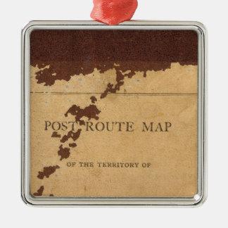 Dakota Territory post route map Silver-Colored Square Decoration