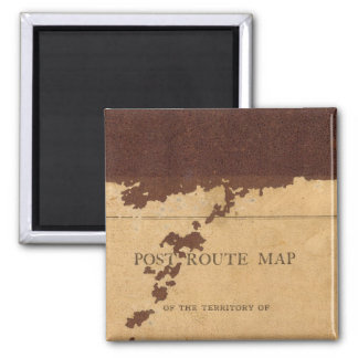 Dakota Territory post route map Square Magnet
