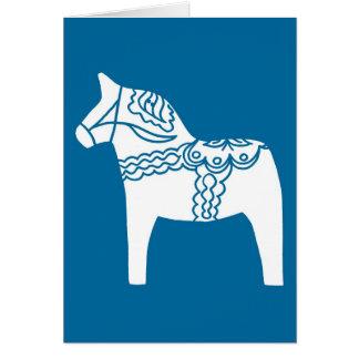 Dala Horse Blue Greeting Cards