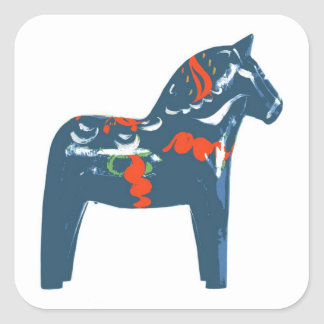 Dala Horse Blue Modern Art Sweden Square Sticker