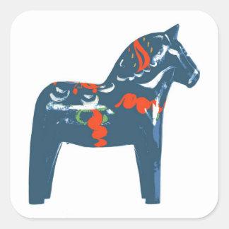 Dala Horse Blue Modern Art Sweden Square Sticker