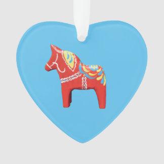 Dala Horse on Blue Heart Ornament