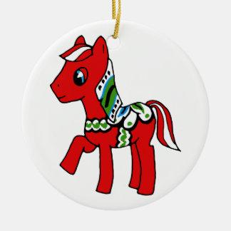Dala Horse Pony Round Ceramic Decoration