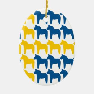 Dala Horse Sweden Flag Ceramic Oval Decoration