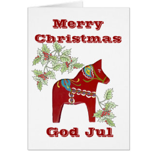 Dala Horse Swedish Christmas Card