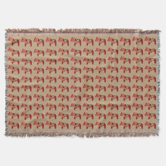 Dala horse throw blanket