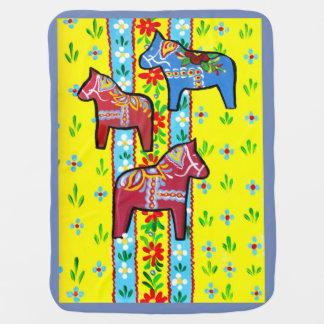Dala Horses Baby Blanket