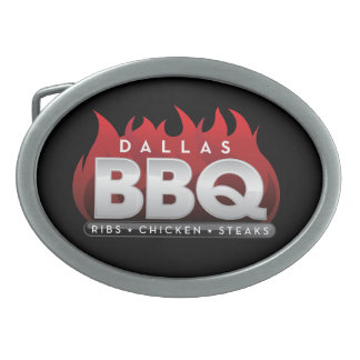 Dallas BBQ Pewter Oval Belt Buckles