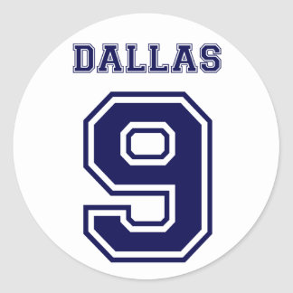 DALLAS BLUE NUMBER NINE ROUND STICKER