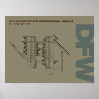 Dallas/Ft. Worth Airport (DFW) Diagram Poster