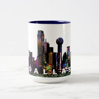 Dallas in graffiti Two-Tone coffee mug