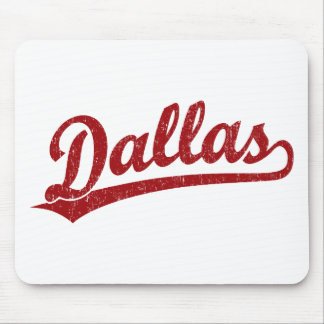 Dallas script logo in red mousepads