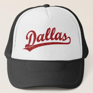Dallas script logo in red trucker hat