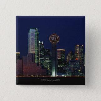 Dallas Skyline at Night 15 Cm Square Badge