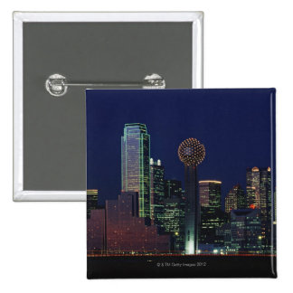 Dallas Skyline at Night 15 Cm Square Badge
