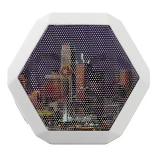 Dallas Skyline at Night White Boombot Rex Bluetooth Speaker