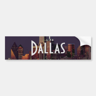 Dallas Skyline at Night Bumper Sticker