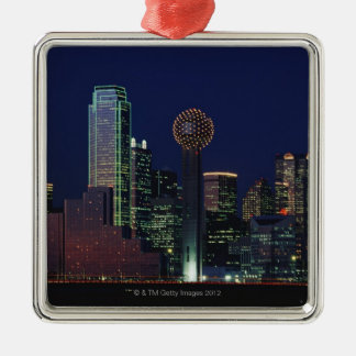 Dallas Skyline at Night Christmas Ornament