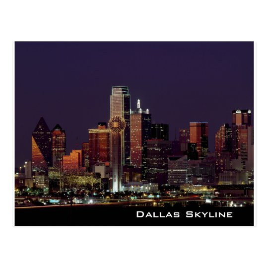 Dallas Skyline at Night Postcard