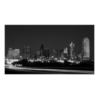 dallas skyline at night poster