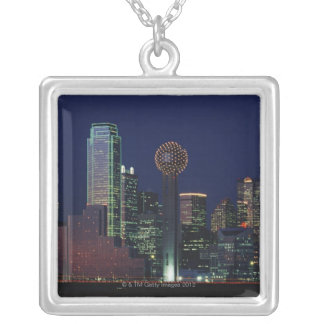 Dallas Skyline at Night Silver Plated Necklace