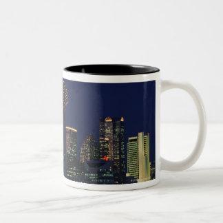 Dallas Skyline at Night Two-Tone Coffee Mug
