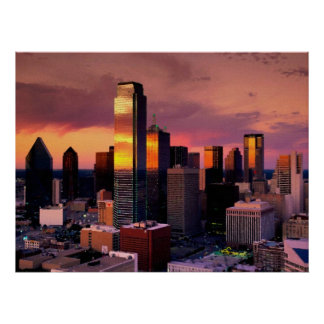 Dallas Skyline at Sunset Poster