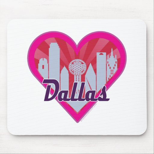 Dallas Skyline Sunburst Heart Mouse Pad