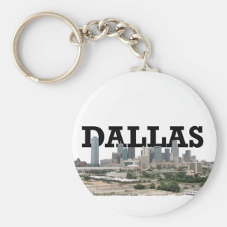 Dallas Skyline with Dallas in the Sky Basic Round Button Key Ring