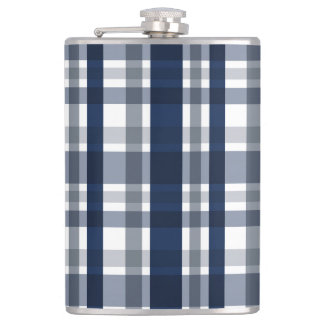 Dallas Sports Fan Navy Blue Silver Plaid Striped Hip Flask
