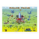 Dallas Texas Cartoon Map Postcard