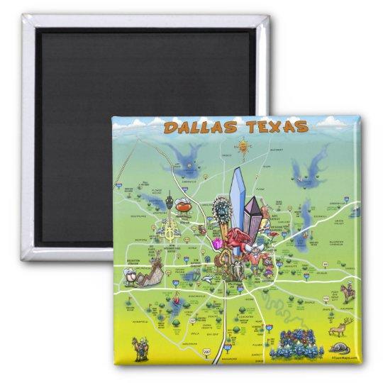 Dallas Texas Cartoon Map Square Magnet