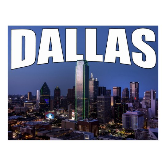 Dallas Texas City Skyline in the Evening Postcard
