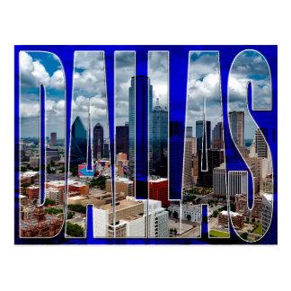 Dallas Texas City Skyline Typographic Postcard
