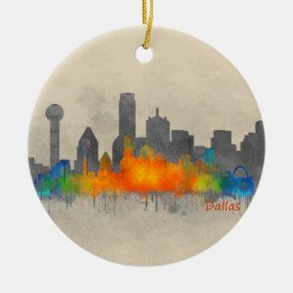 Dallas Texas City Watercolor Skyline Hq v2 b/w Christmas Ornament