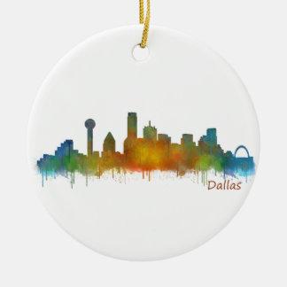 Dallas Texas City Watercolor Skyline Hq v2 Christmas Ornament