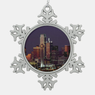 Dallas, Texas night skyline Snowflake Pewter Christmas Ornament