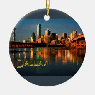 Dallas Texas Skyline at Dusk Round Ceramic Decoration