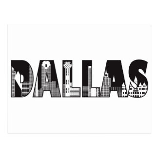 Dallas Text with Buildings Outline Drawing Postcard