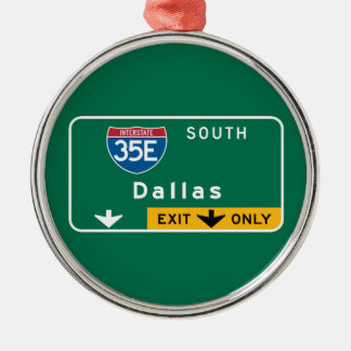 Dallas, TX Road Sign Christmas Ornament