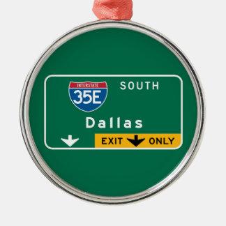 Dallas, TX Road Sign Silver-Colored Round Decoration